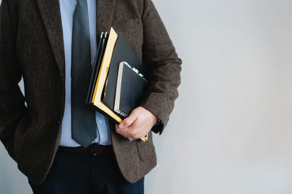 personal injury lawyer with notebook